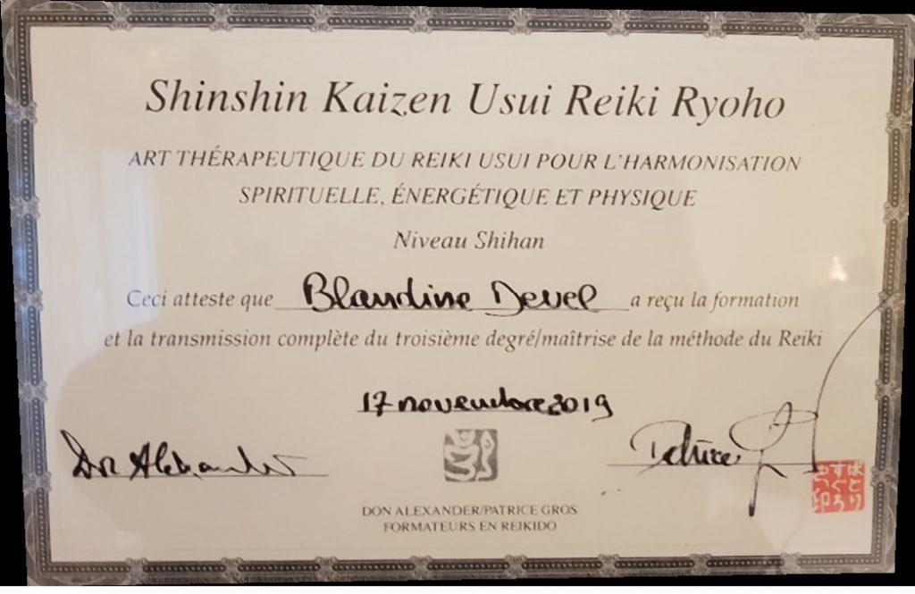 Diplôme Shihan de Reiki signé par Maîtrise Patrice Gros et Don Alexander